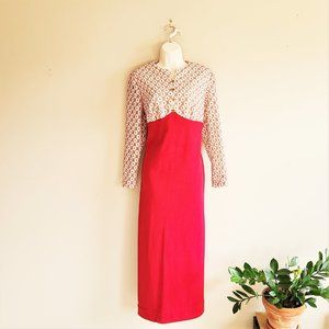 Vintage red and cream maxi dress from 1970s.
